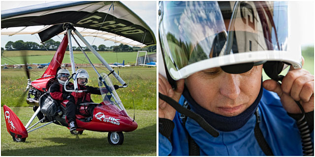 microlight pilot preparing to take off