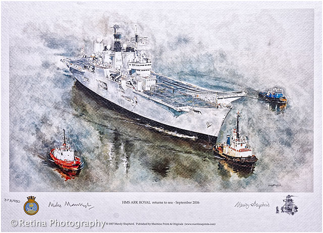Hms Ark Royal Navy Watercolour Print