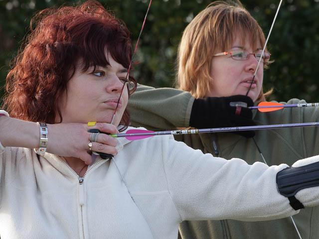 Female Archery Competitors In Training