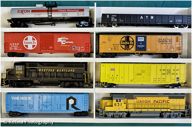 American Railroad Model Trains in Display Case