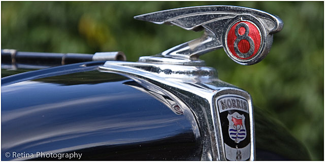 Bonnet Of Morris Eight Motor Car With Insignia