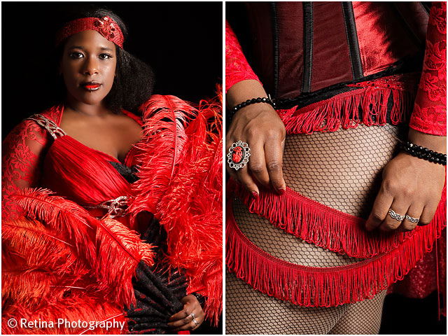 Burlesque Performer With Feathers And Garters