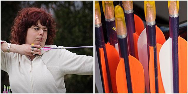 Female Archer And Arrow Fletches