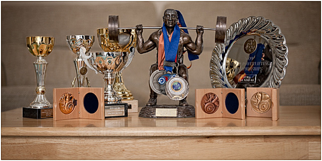 Power Lifting Trophies On Display