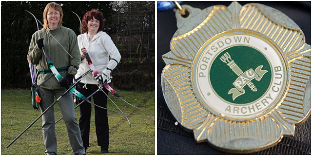 Two Female Archers With Portsdown Club Medal