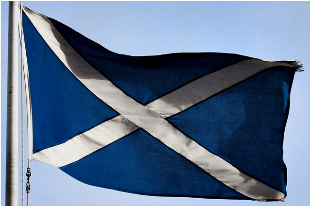 Scottish flag flying