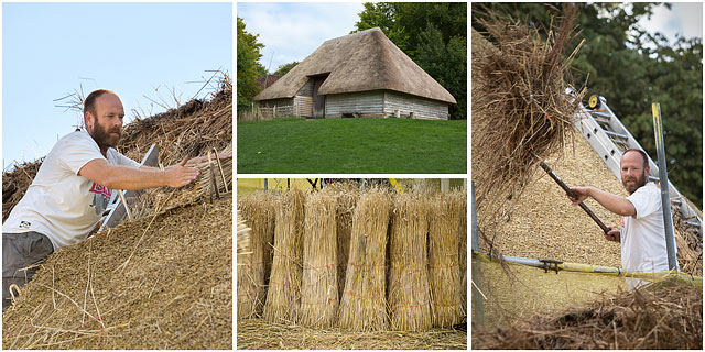 Thatching A Cottage Roof And View Of Aisled Barn From Hambrook Sussex
