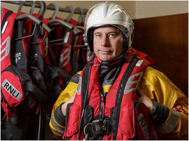 RNLI Volunteer Dressed In Survival Clothing And Equipment