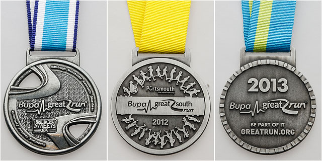 Bupa Great South Run Competitor Medals Hanging From Ribbons