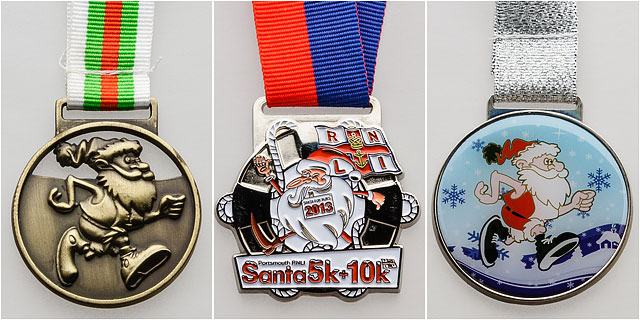 Portsmouth RNLI Santa 5K 10K Runners Medals Hanging From Ribbons