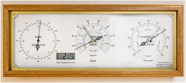Wall mounted Wind Direction, Speed and Barometric Pressure Gauges