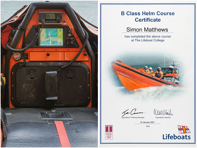RNLI Helm Course Certificate and Cockpit of B Class Inshore Lifeboat