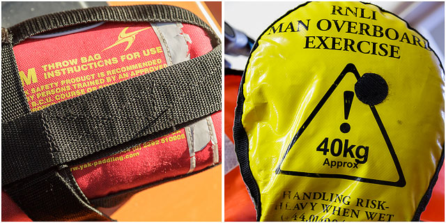 Yellow RNLI Man Overboard Training Equipment And Red British Canoe Union Throw Bag Rescue Equipment