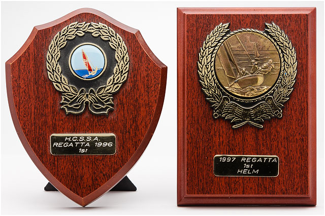 First Place Sailing Regatta Trophies On Wooden Bases
