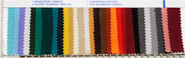 Upholstery Colour Swatches Used For Matching Materials In Sail Repairs