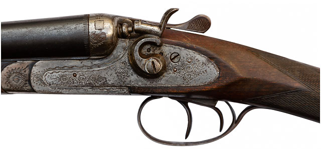 Close Up Of 12 Guage Shotgun, Unknown Maker, 24 Inch Barrels, Circa 1880s