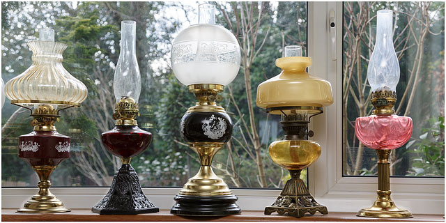 Ornate Collectable Antique Brass And Glass Lamps