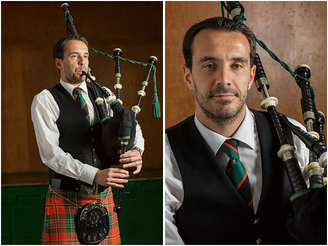 Portrait of a male bagpipe player facing the camera