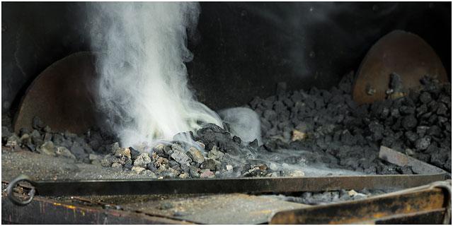 Blacksmiths Forge Starting Up And Smoking