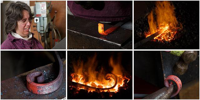 Blacksmith Hand Forging A Decorative Steel Scroll