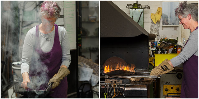 Ceramacist Enjoying Learning A New Skill At A Blacksmiths Taster Day