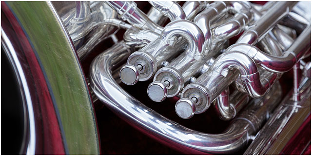 Close Up Of E Flat Bass Tuba Valves