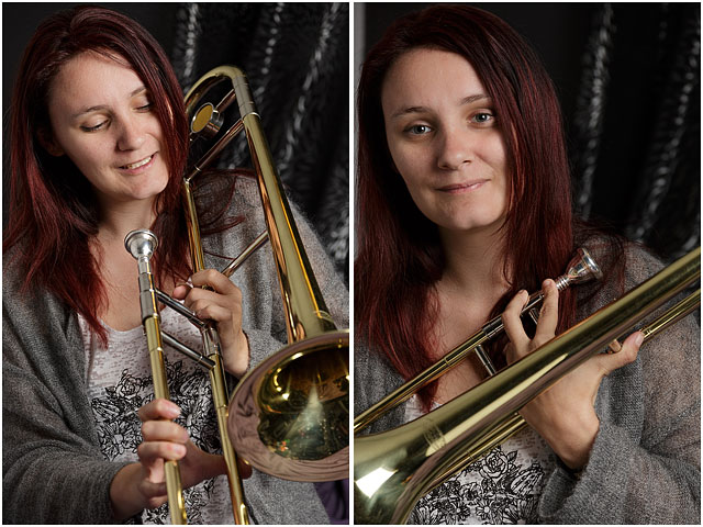 Female Brass Band Player Holding Trombone