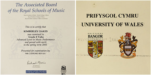 Grade 8 Tuba And University Of Bangor Paper Certificates