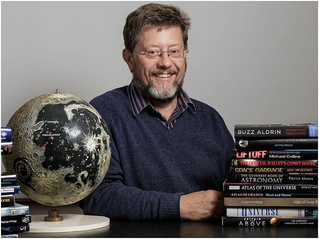 Portrait Hampshire Astronomical Group Male Astronomer Moon Globe Books Smiling Glasses Beard