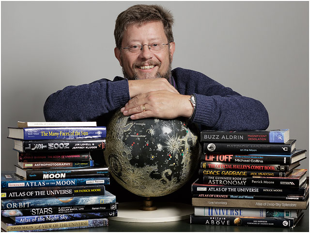 Portrait Hampshire Astronomical Group Male Astronomer Moon Globe Books Smiling Glasses