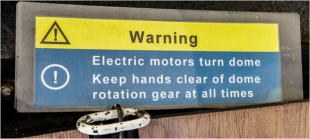 Telescope Dome Electric Motor Warning Sign Yellow Blue White Text