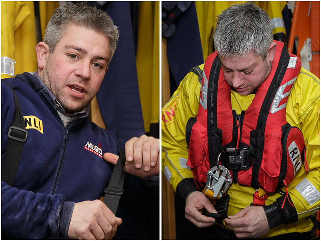 RNLI Volunteer Dressing For Action In Woolly Bear And Survival Suit