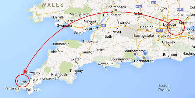 Map Route From Bexleyheath Greater London to Saint Ives Cornwall