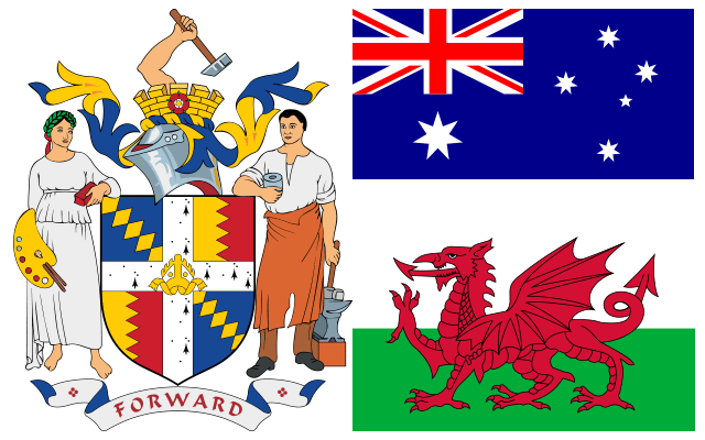 Birmingham Coat Arms Australian Australia Flag Welsh Wales