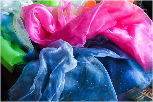 Vibrant Colours Bright Pink Blue And Green Organza Fabric