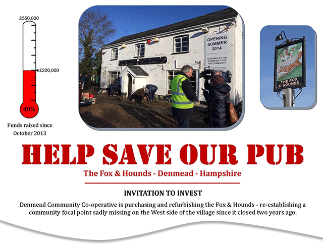 Fox Hounds Denmead Public House Community project leaflet drop march 2014