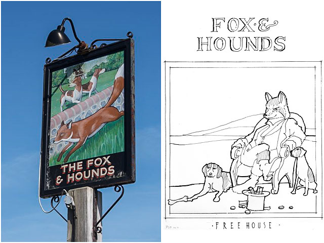 Fox Hounds Public House Sign Sketch