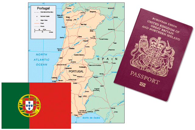 Map Portugal National Flag UK Passport