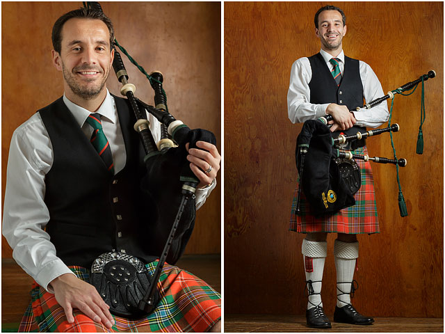 Portrait Bagpipe Player Traditional Scottish Costume