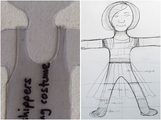 Plastic Template For Quilted Removable Fabric Doll And Original Sketch