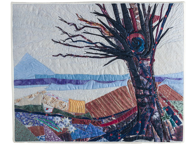 Quilted Textile Picture Abstract Black Tree