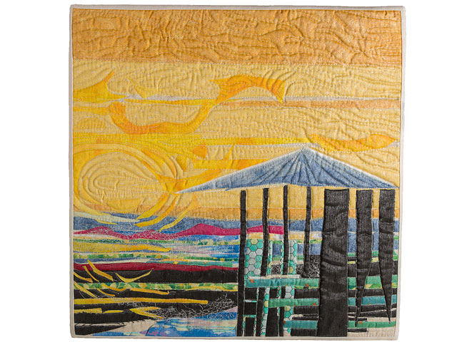 Sunset Beach Scene Of Quilted Textile Picture Called Evening Light