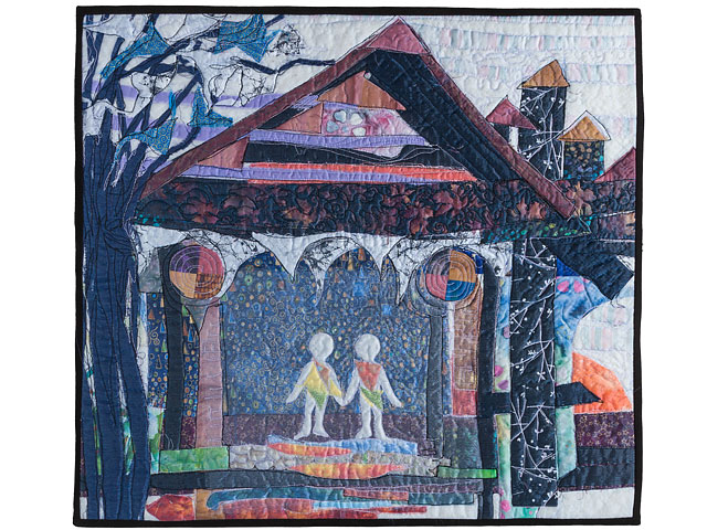 Strongly Coloured Quilted Dream Like Textile Artwork Called On The Threshold