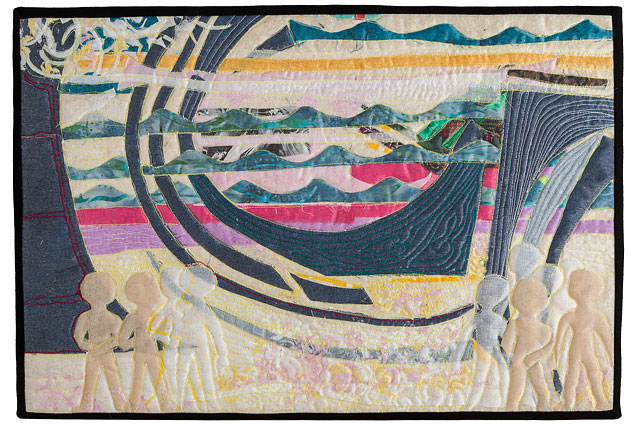 Quilted Abstract Textile Picture Of A Shipwreck With Figures In The Foreground