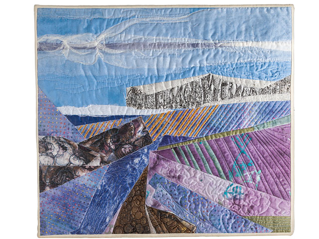 Quilted Textile Landscape Picture Called White Cliffs