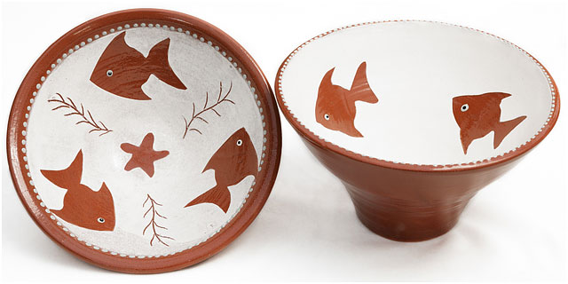 Glazed Pots Pottery Brown White Fishes Starfish