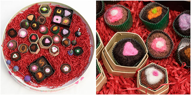 Imitation Sweets Presentation Box Red Shredded Paper Felt