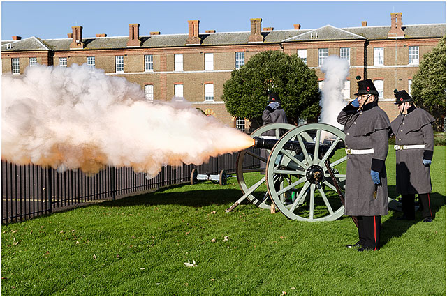 Cumberland Guard Three Pounder Canon Firing 2014 Portsmouth Royal Marine Barracks Remembrance Service.