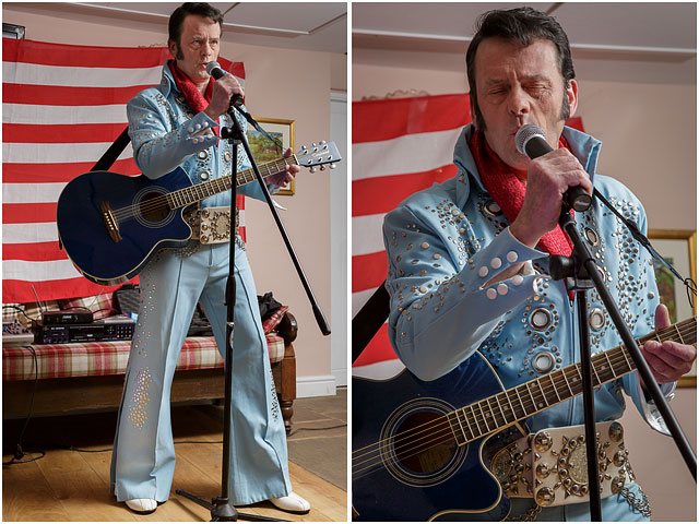Fox Hounds Denmead Public House Elvis Tribute Singer Blue Guitar American Flag Las Vegas Suit