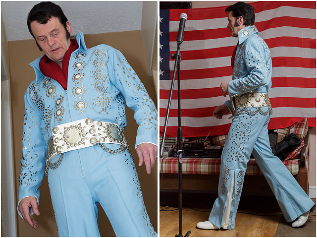 Fox Hounds Denmead Public House Elvis Tribute Singer Blue American Flag Las Vegas Suit